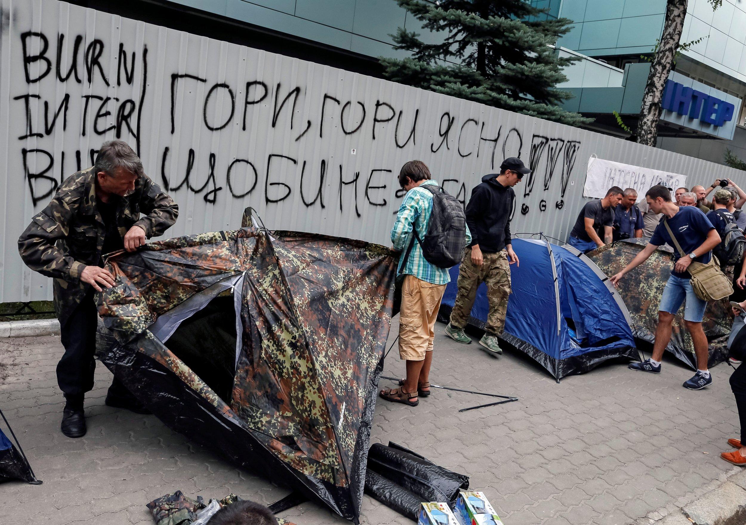 Inter TV protesters