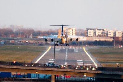 SAS plane landing at London City Airport