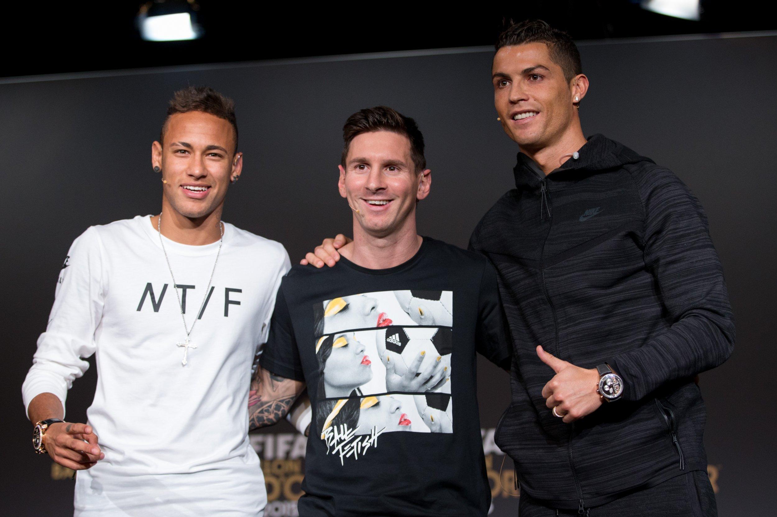 Neymar, Messi, and Ronaldo