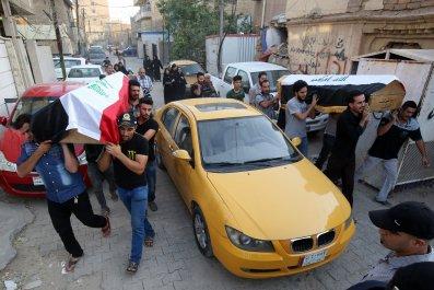 Baghdad coffins after attack