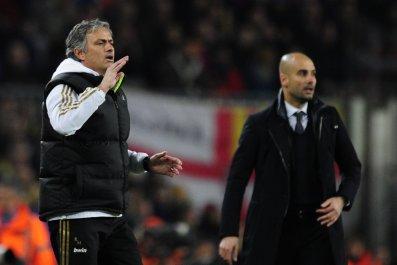 Jose Mourinho, left, with Pep Guardiola.