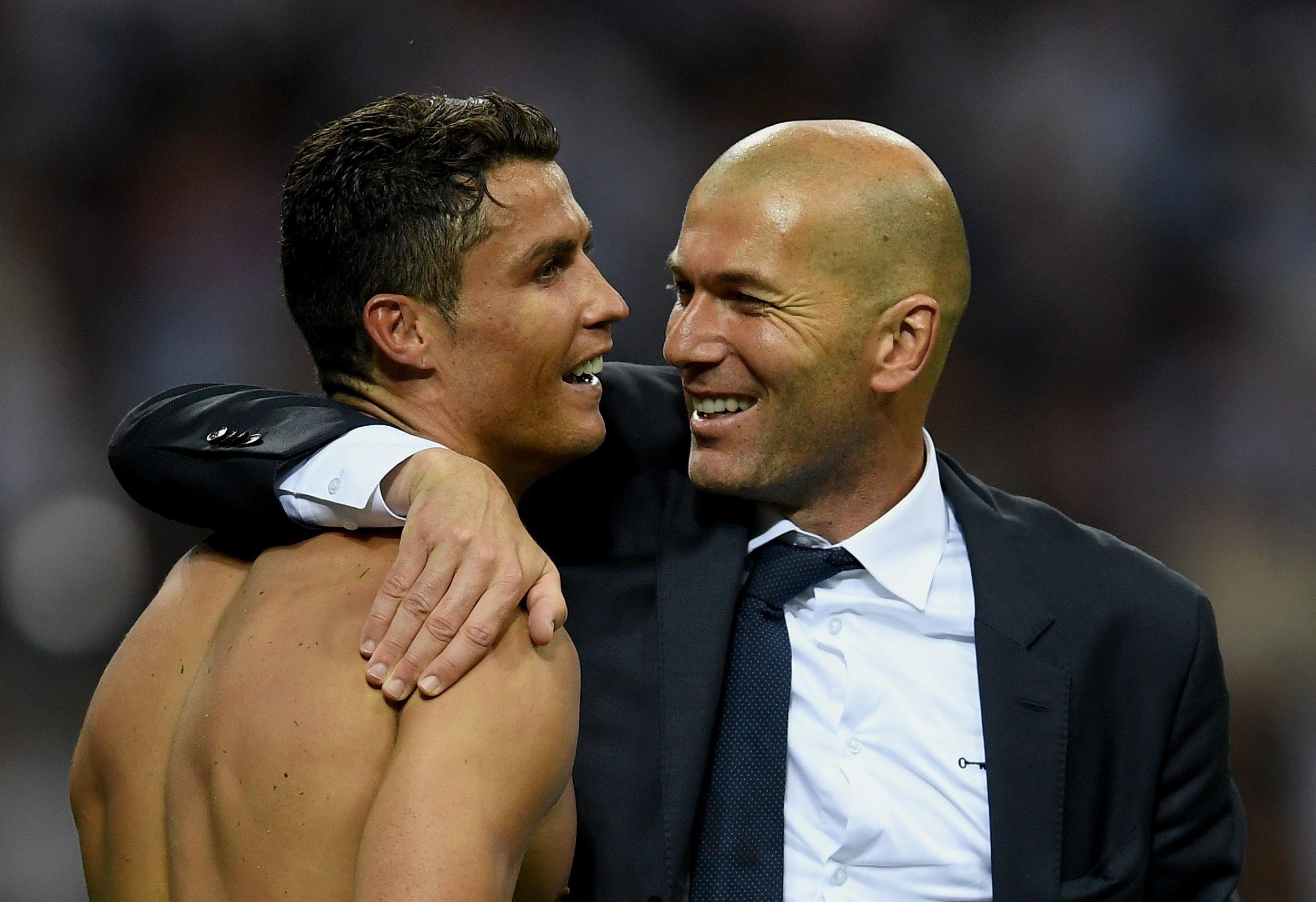 Real Madrid's Zinedine Zidane, right, with Cristiano Ronaldo.