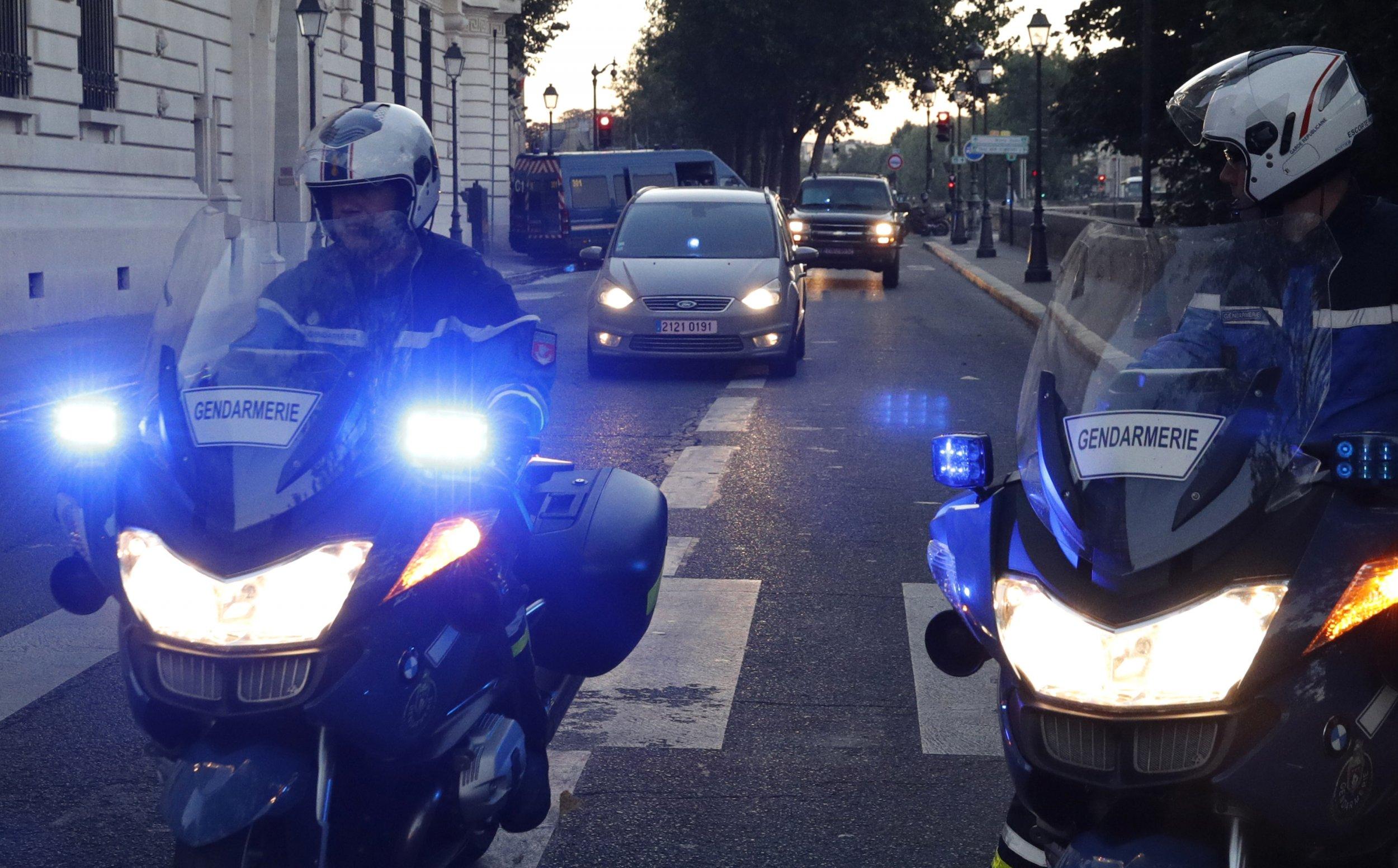 Police transporting Salah Abdeslam