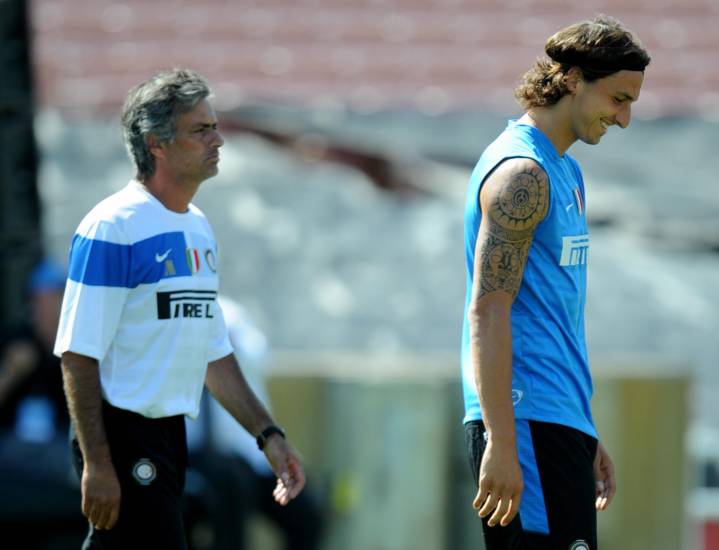 Jose Mourinho, left, with Zlatan Ibrahimovic