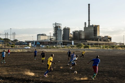Mine workers play soccer
