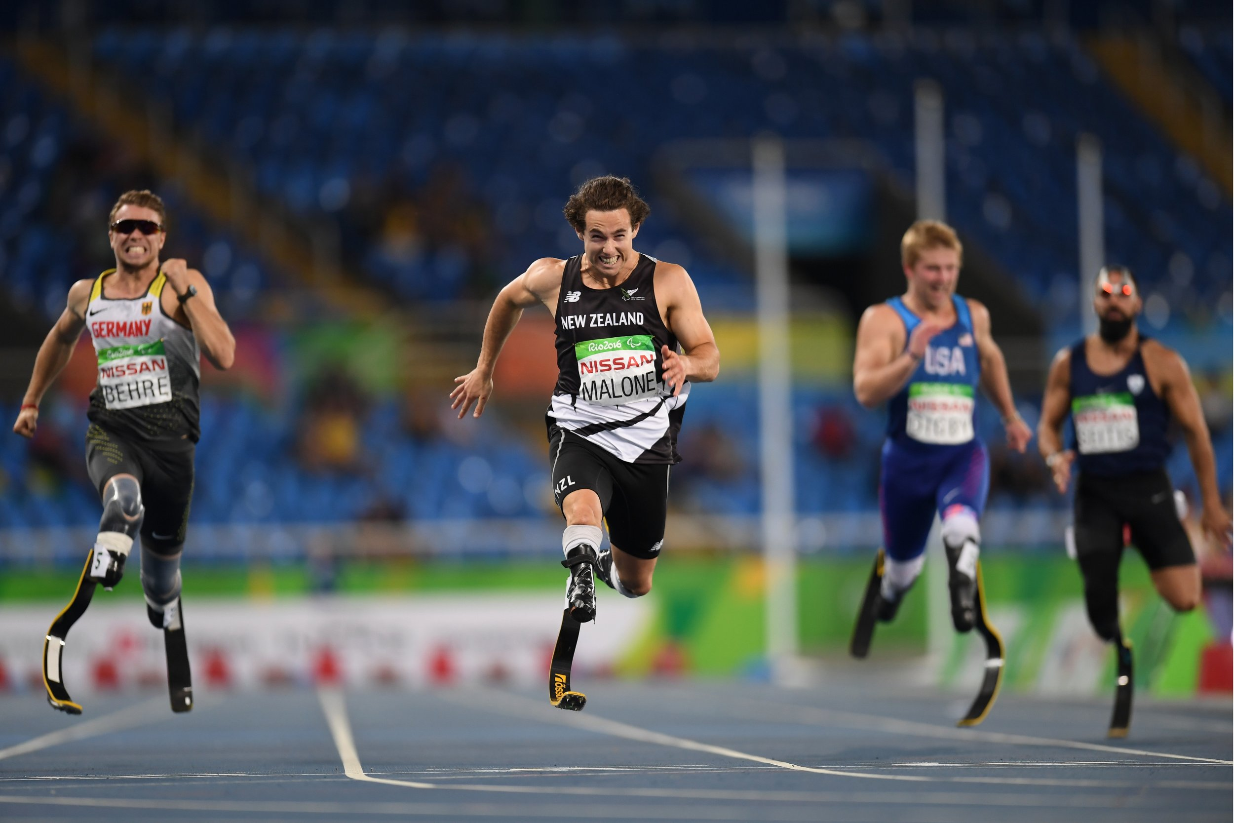 New Zealand Paralympian Liam Malone, center.