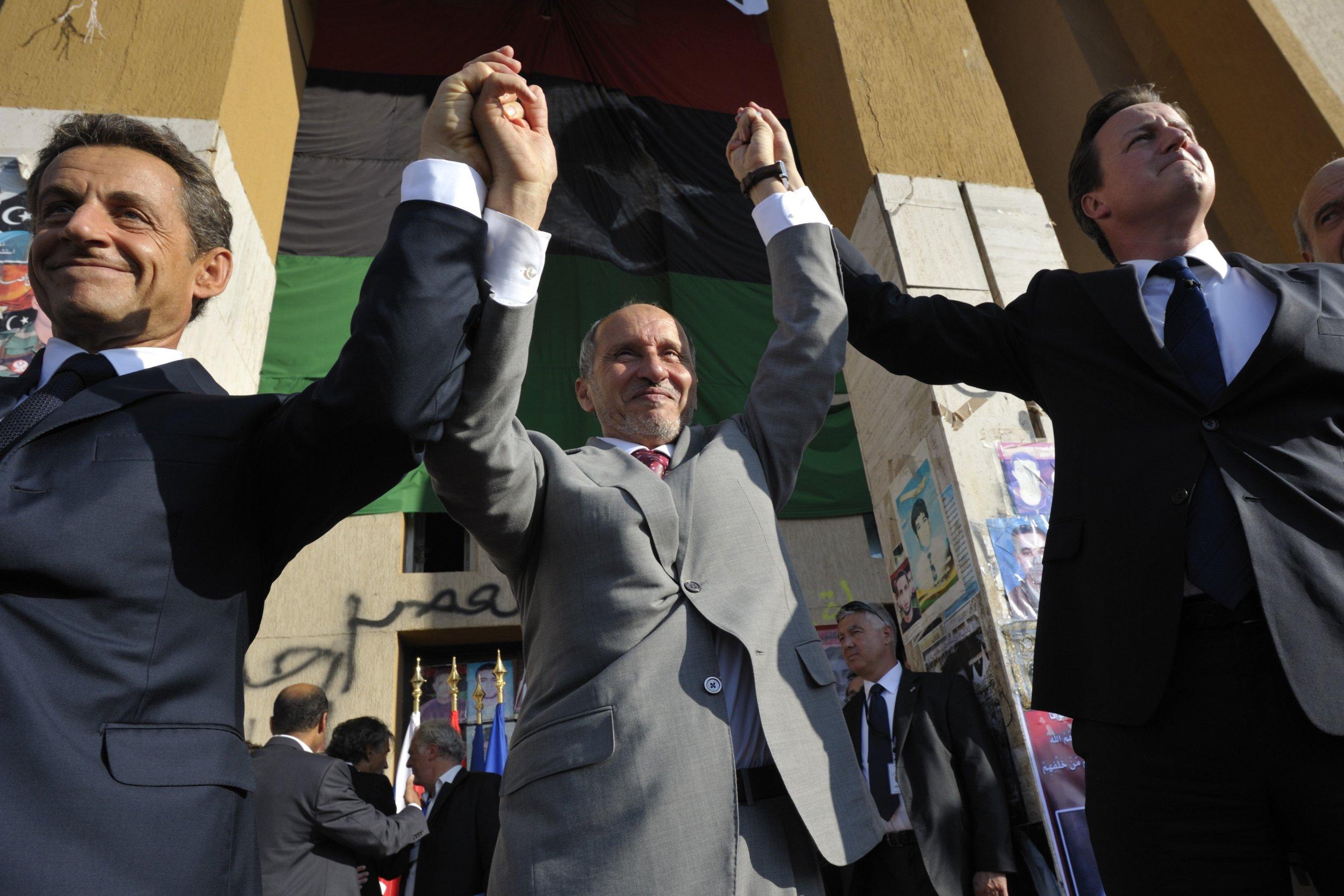 Sarkozy and Cameron in Libya