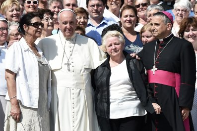 Pope Francis With Sister of Late French Priest Jacques Hamel