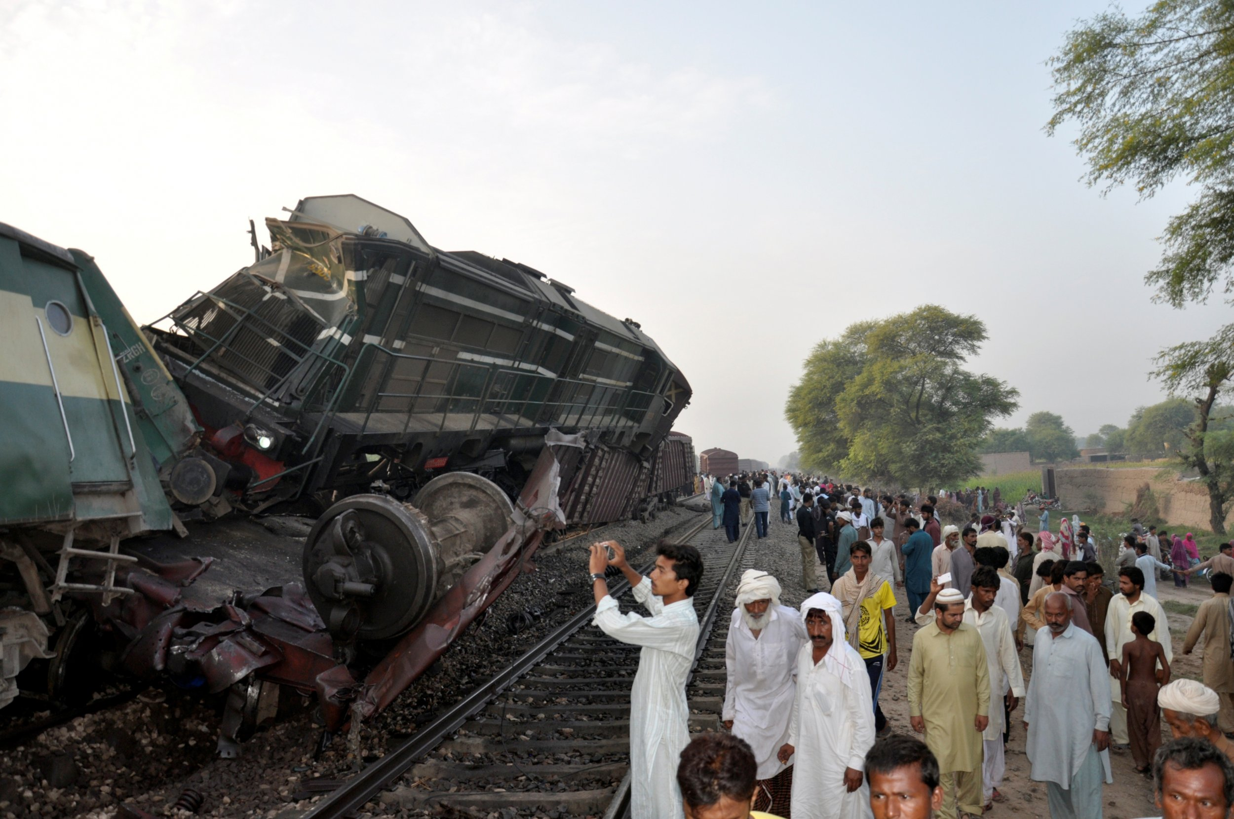 Train crash wreckage, Pakistan