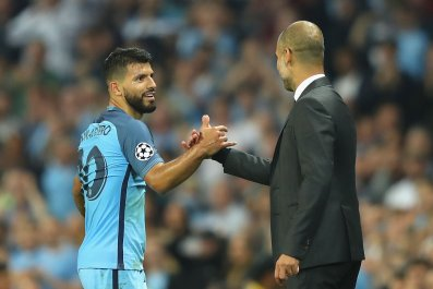 Sergio Aguero and Pep Guardiola
