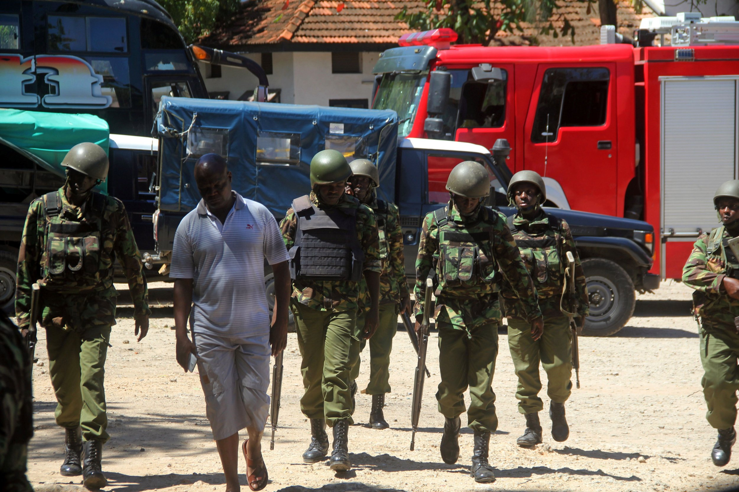 A police station in Mombasa after an attack by three women