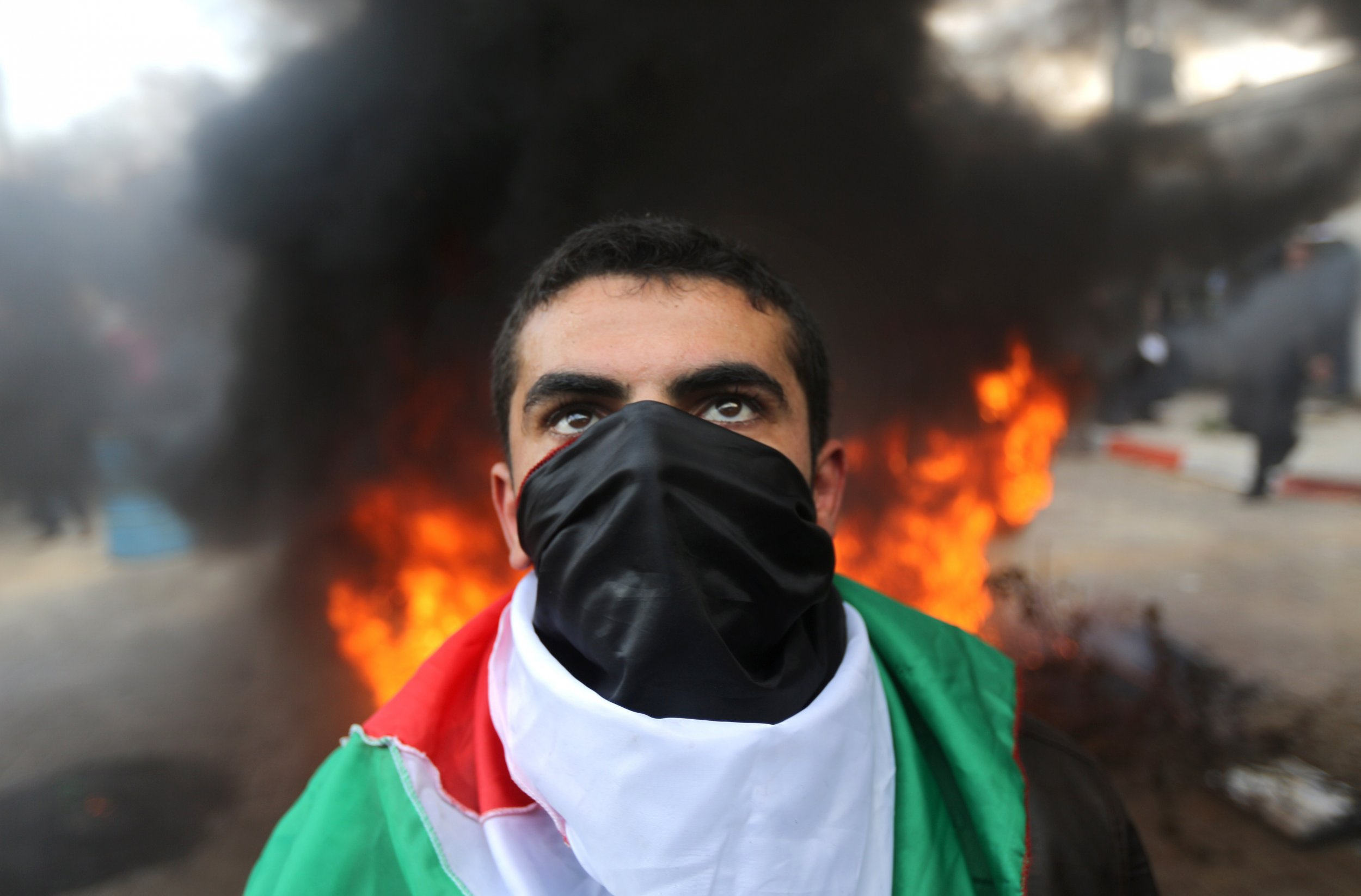 Palestinian protester in the Gaza Strip