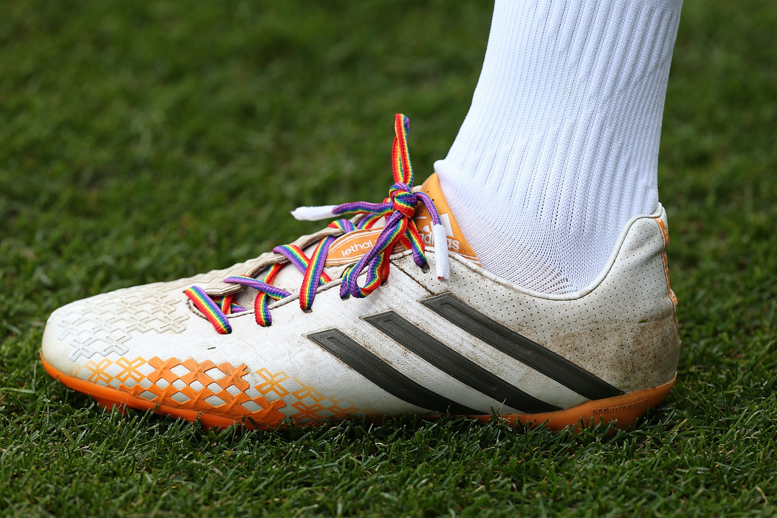 Lawson D'Ath of Northampton Town wears rainbow laces as part of a anti-homophobia campaign.
