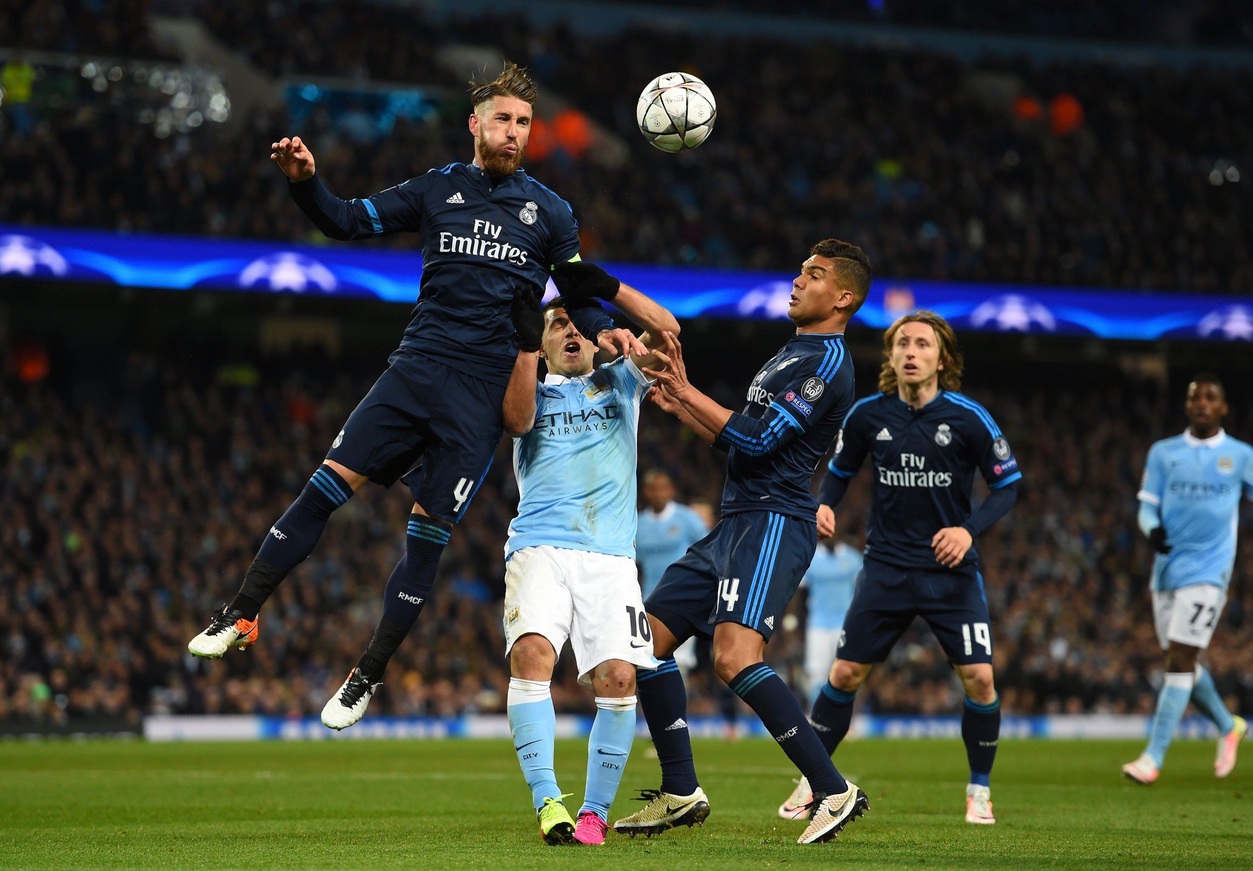 Real Madrid defender Sergio Ramos, left.