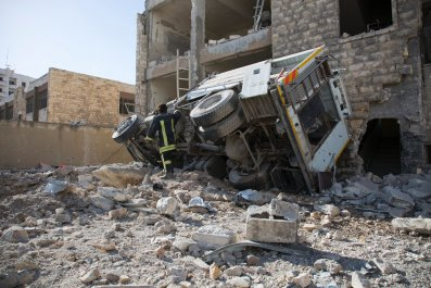 Airstrike aftermath in Aleppo