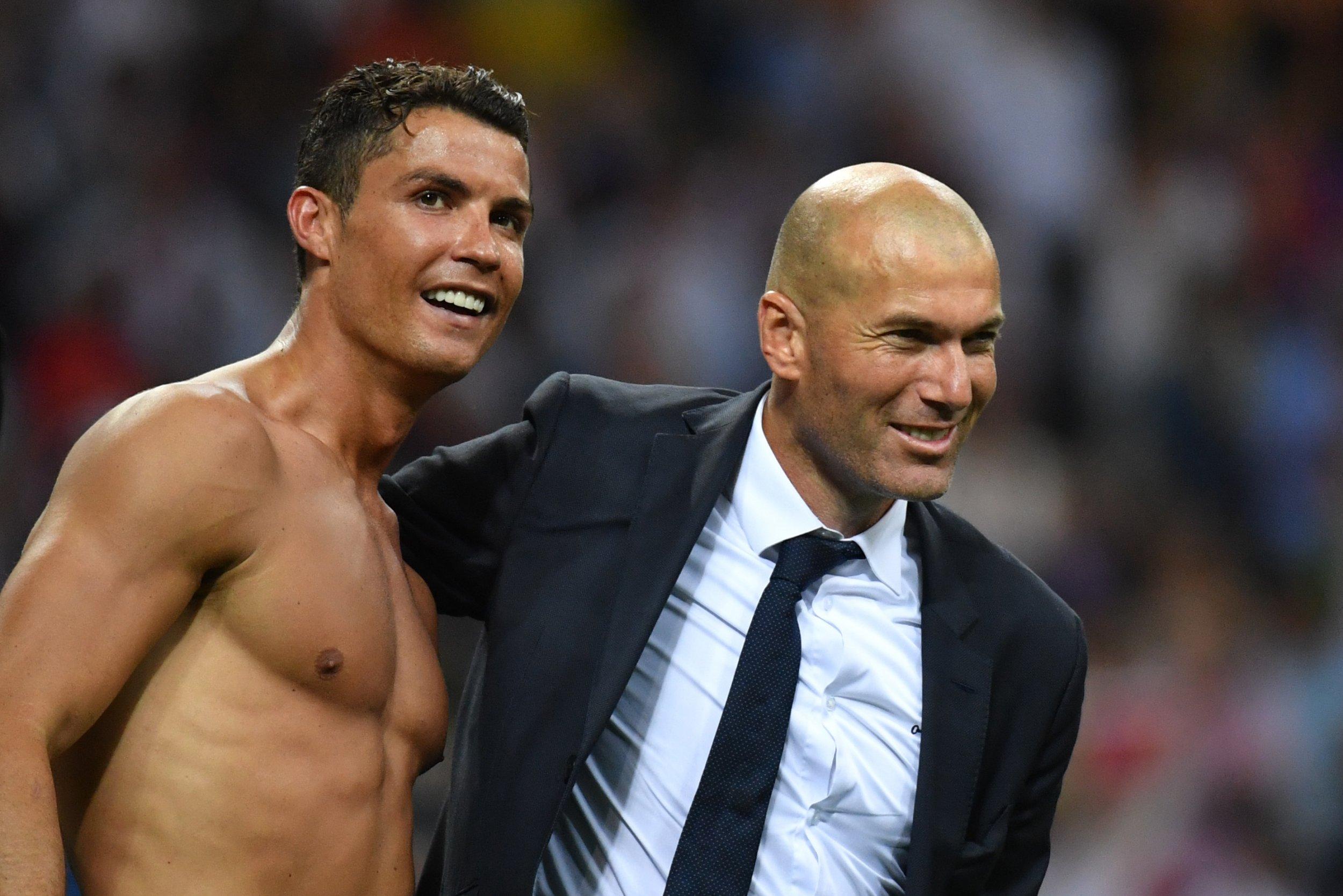 Cristiano Ronaldo, left, with Real Madrid manager Zinedine Zidane.