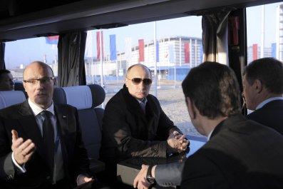 Putin on a bus