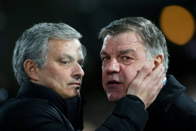 Jose Mourinho, left, with Sam Allardyce.