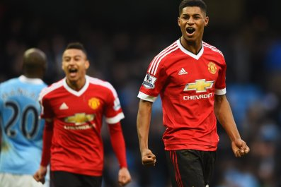Marcus Rashford, right, with Jesse Lingard.