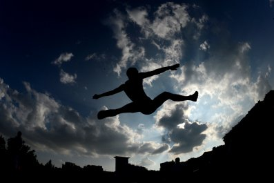 An athlete competes in Moscow