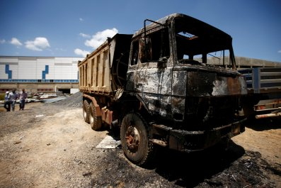 torched truck in the town of Sebeta, Oromia region
