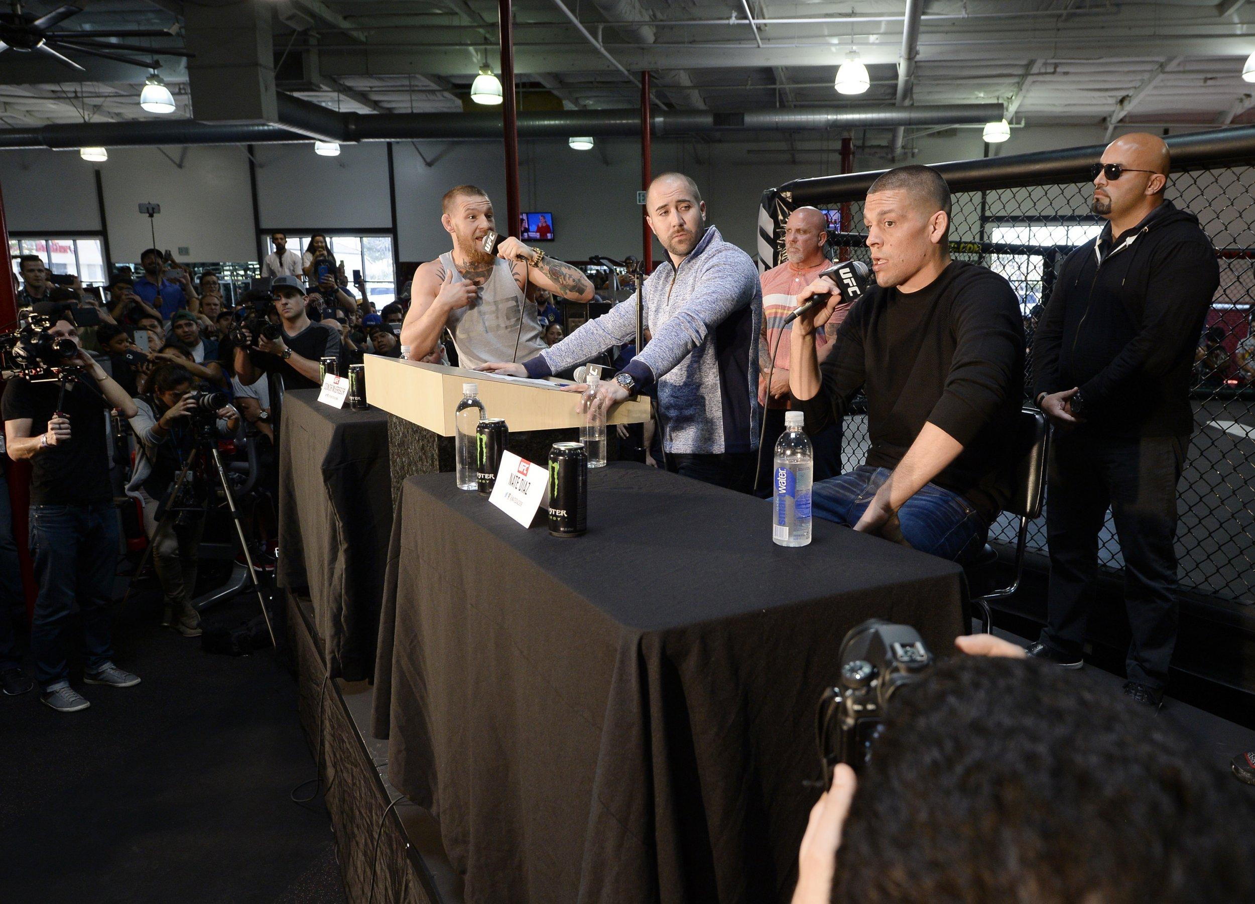 Conor McGregor, far left, with Nate Diaz, far right.