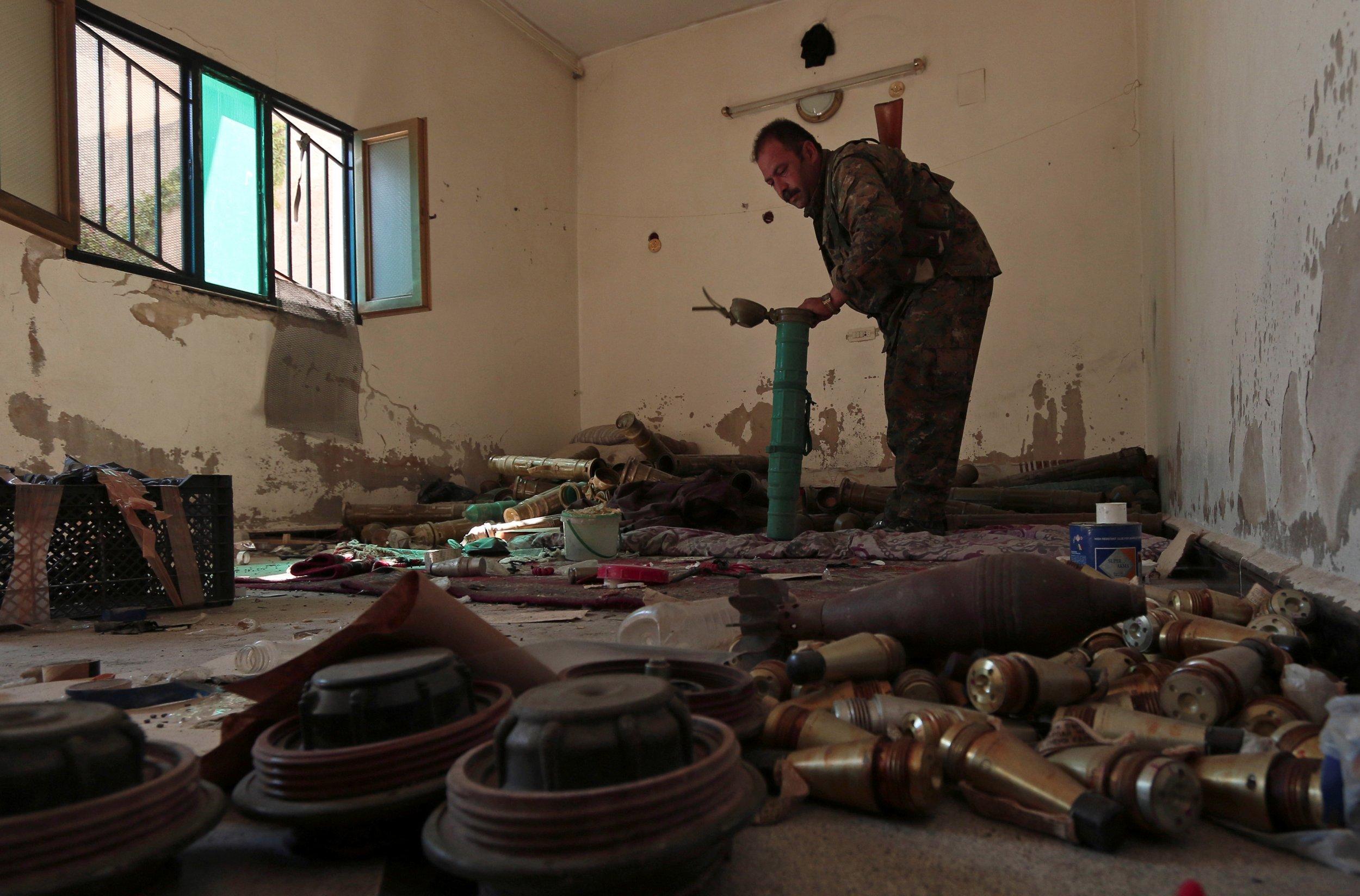 An ISIS explosives factory in Manbij