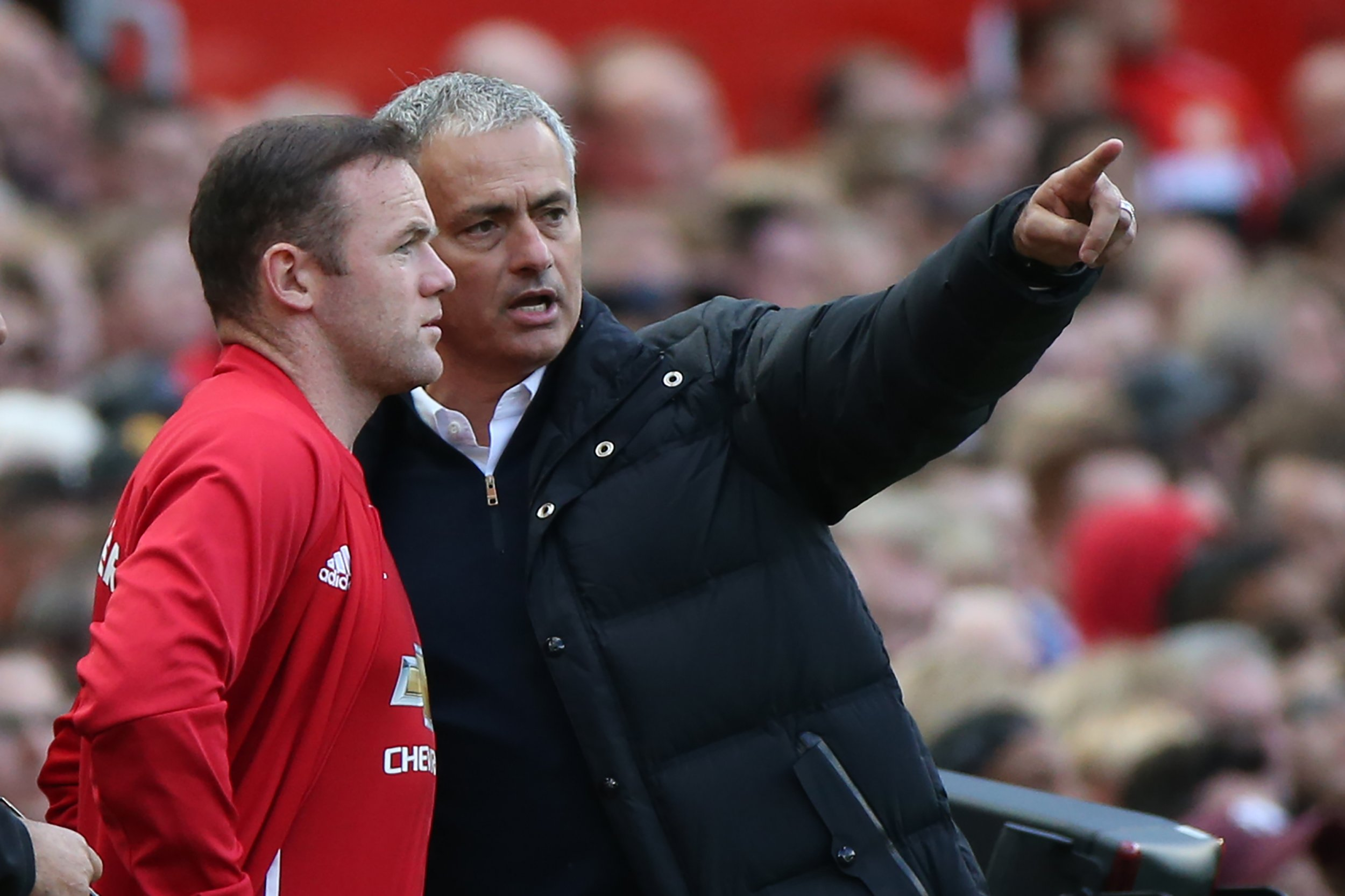 Wayne Rooney, left, with Manchester United manager Jose Mourinho.