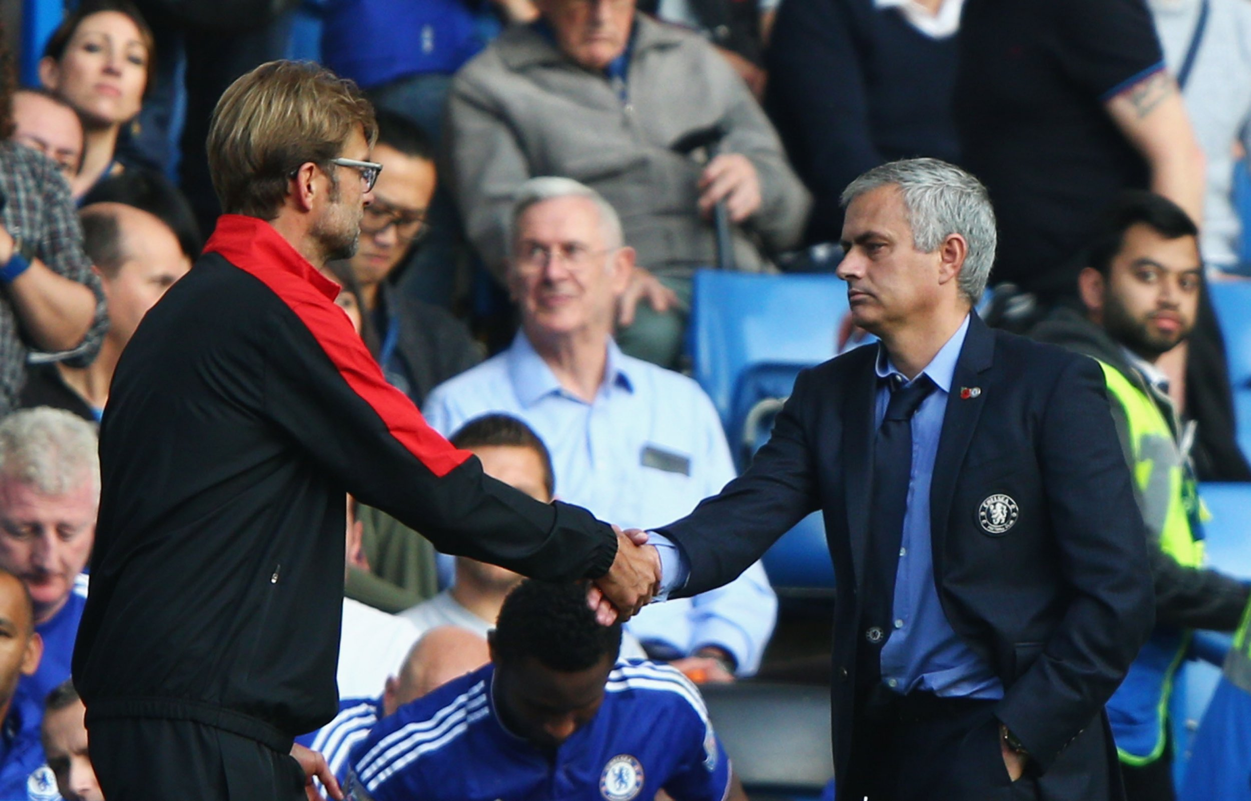 Liverpool manager Jurgen Klopp, left, with Jose Mourinho at Stamford Bridge.
