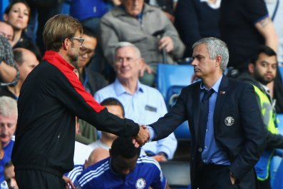 Liverpool manager Jurgen Klopp, left, with Jose Mourinho at Stamford Bridge.