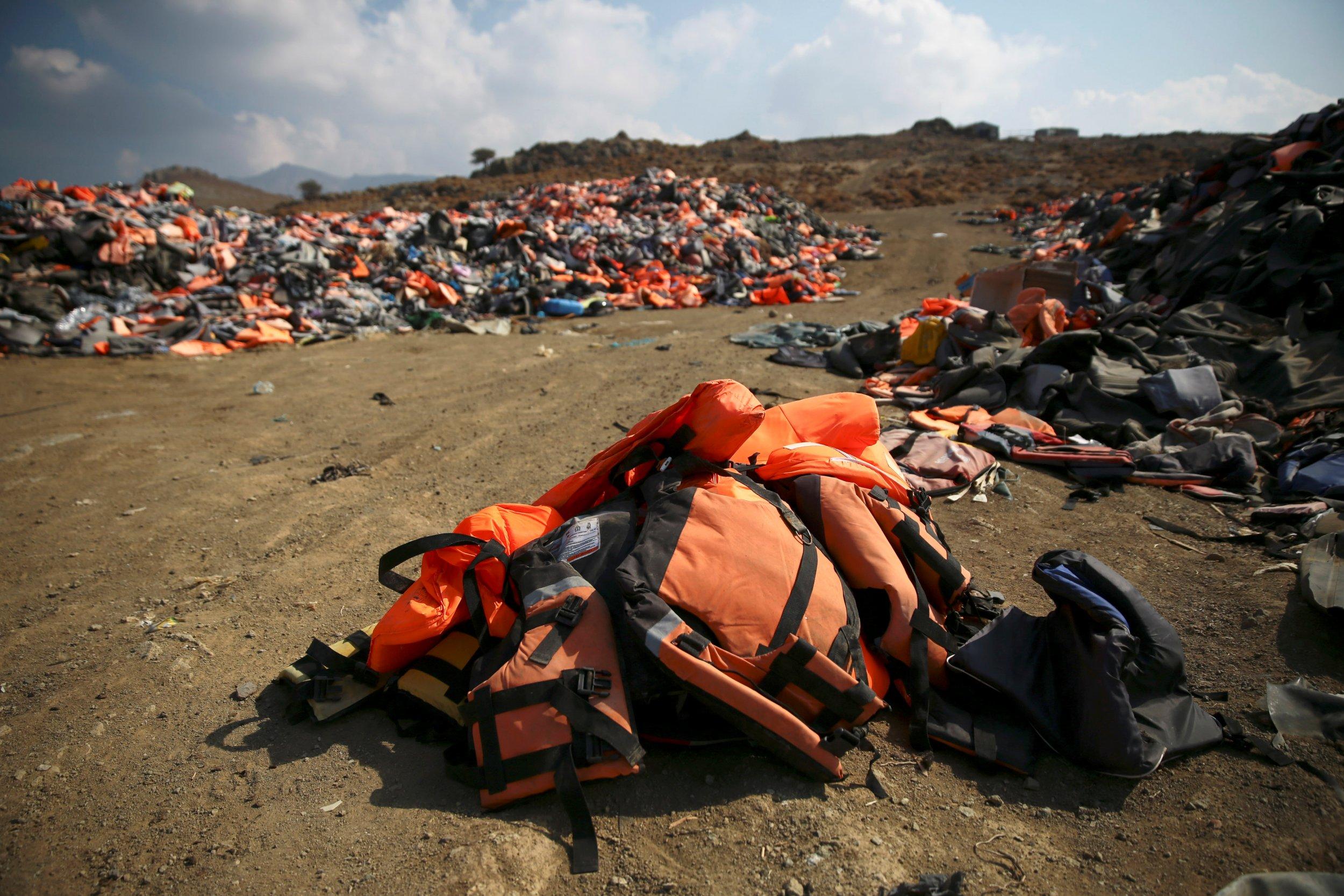 Refugee lifejackets Greece