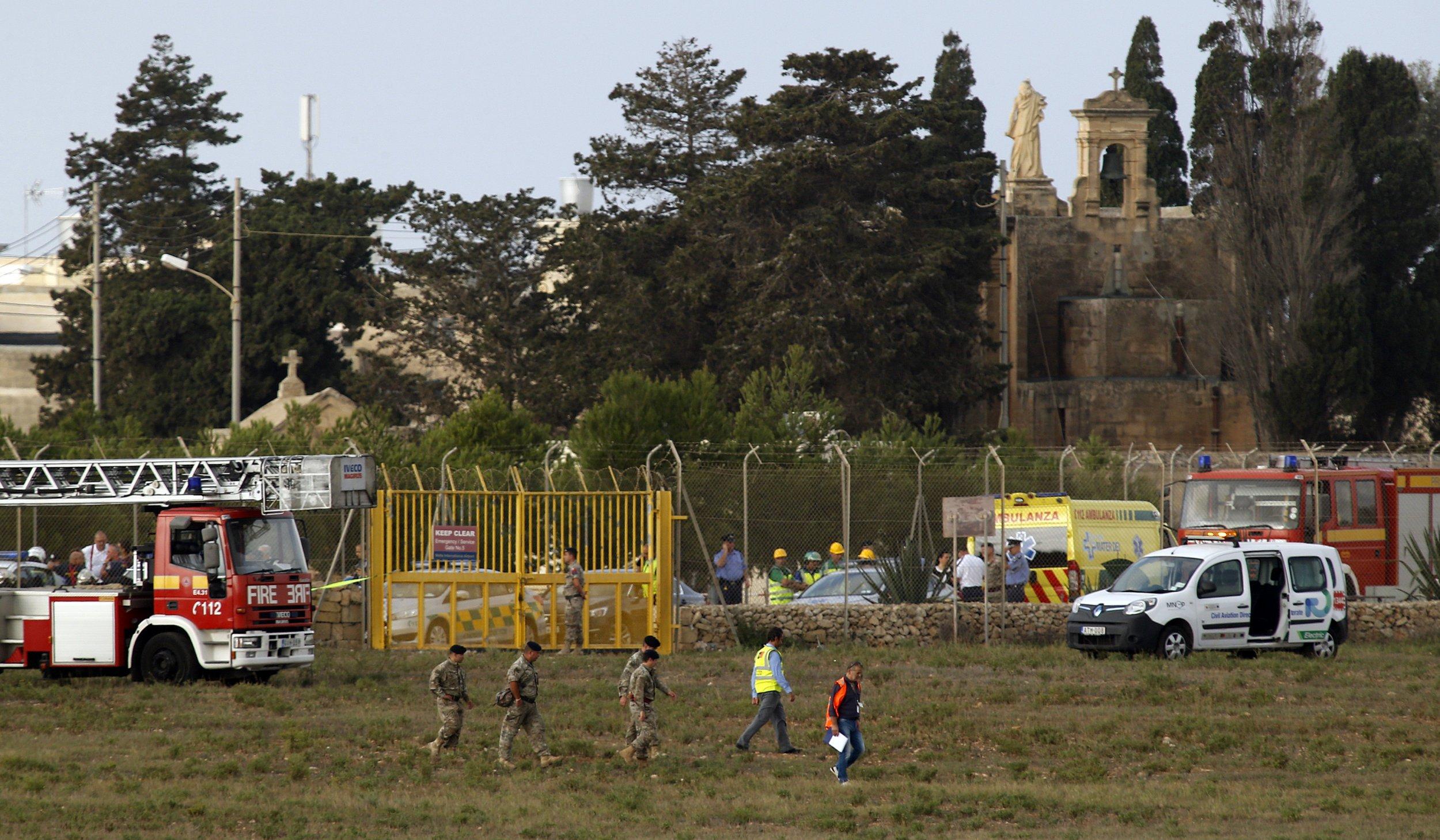 Scene of a light aircraft crash, Malta