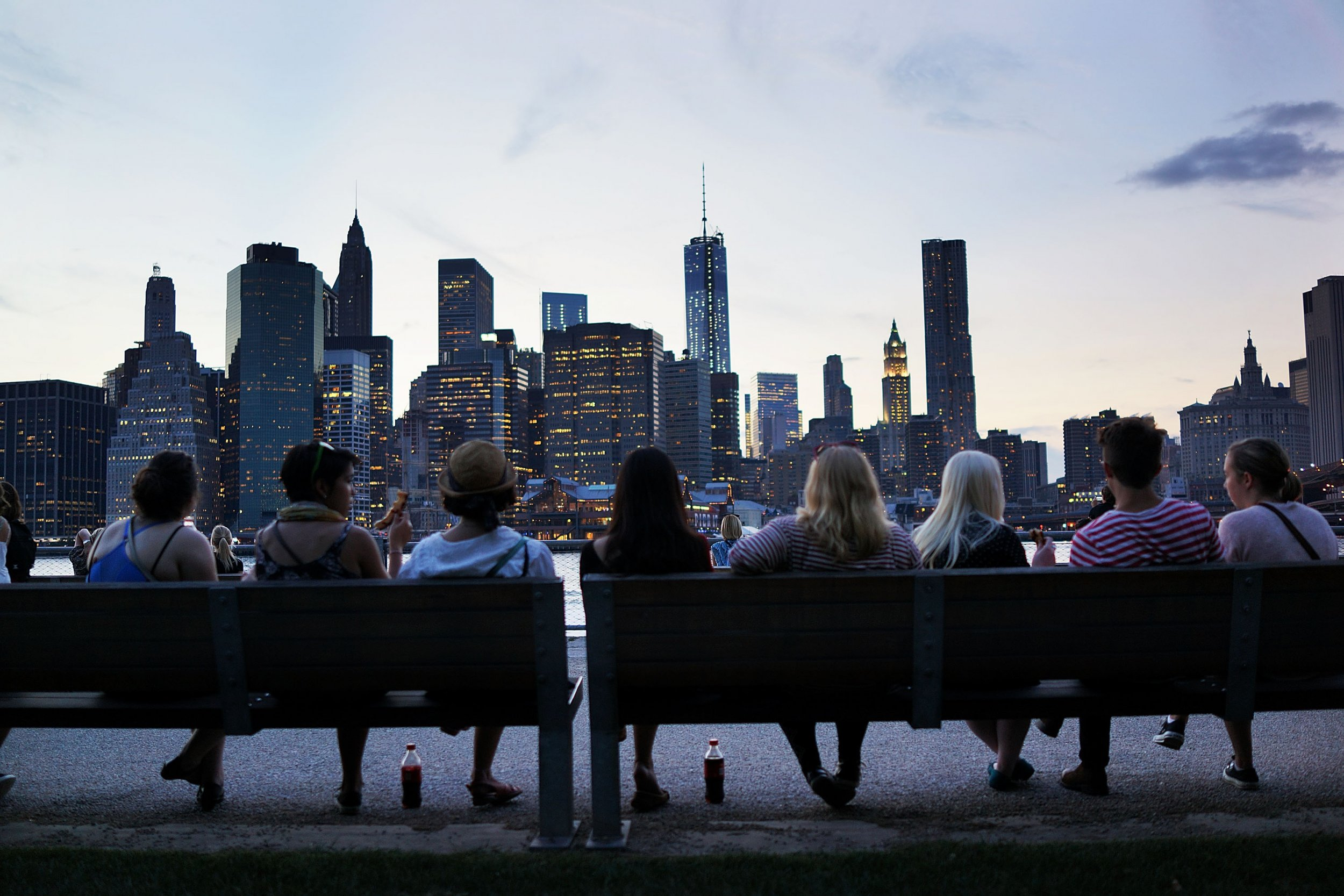 People sitting on a bench in New York