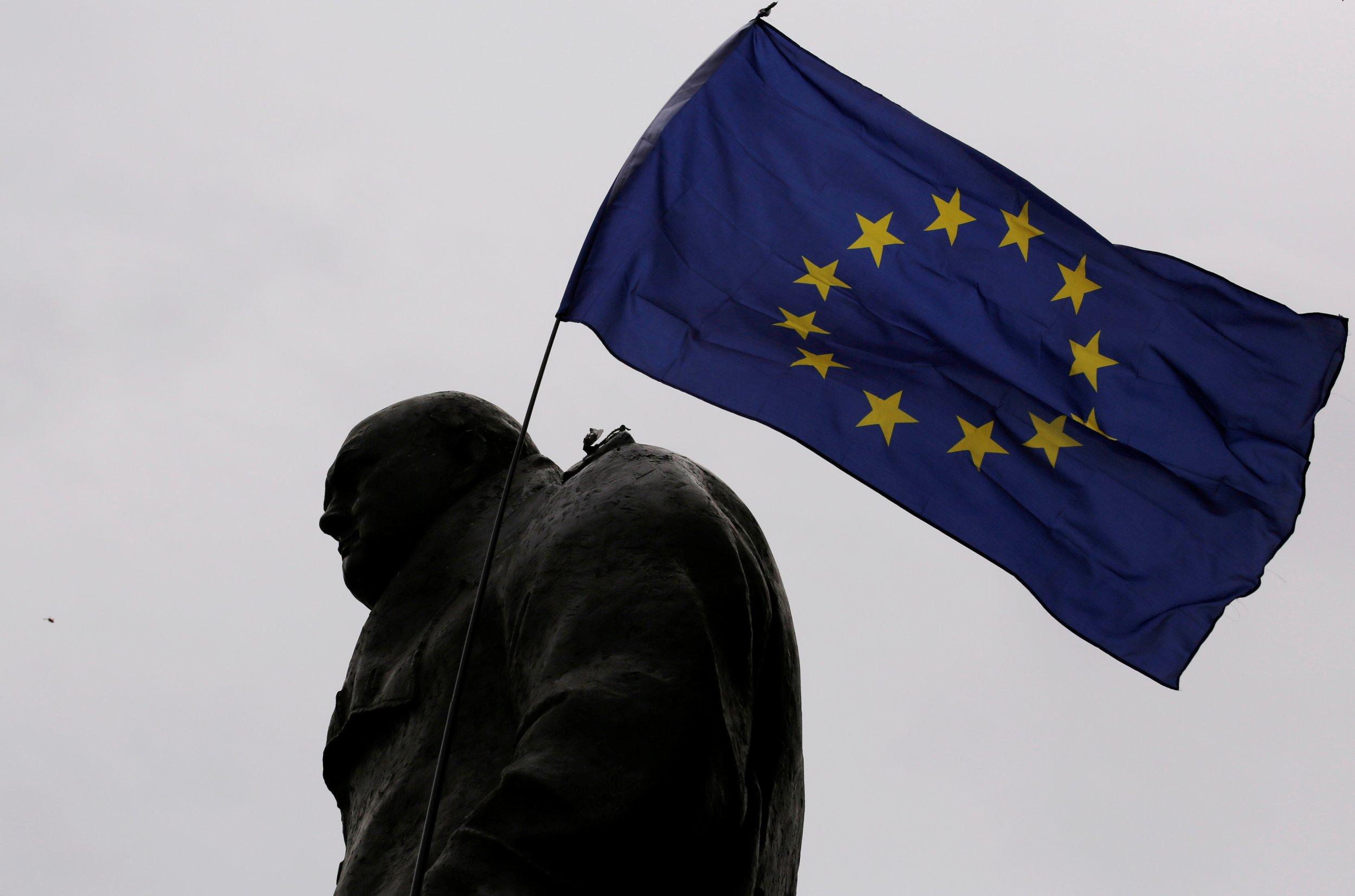 EU flag on Winston Churchill