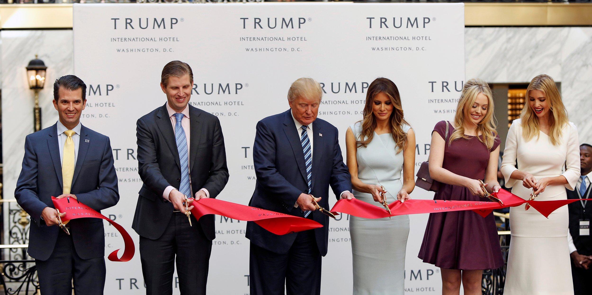 donald trump promotes his washington dc hotel and his