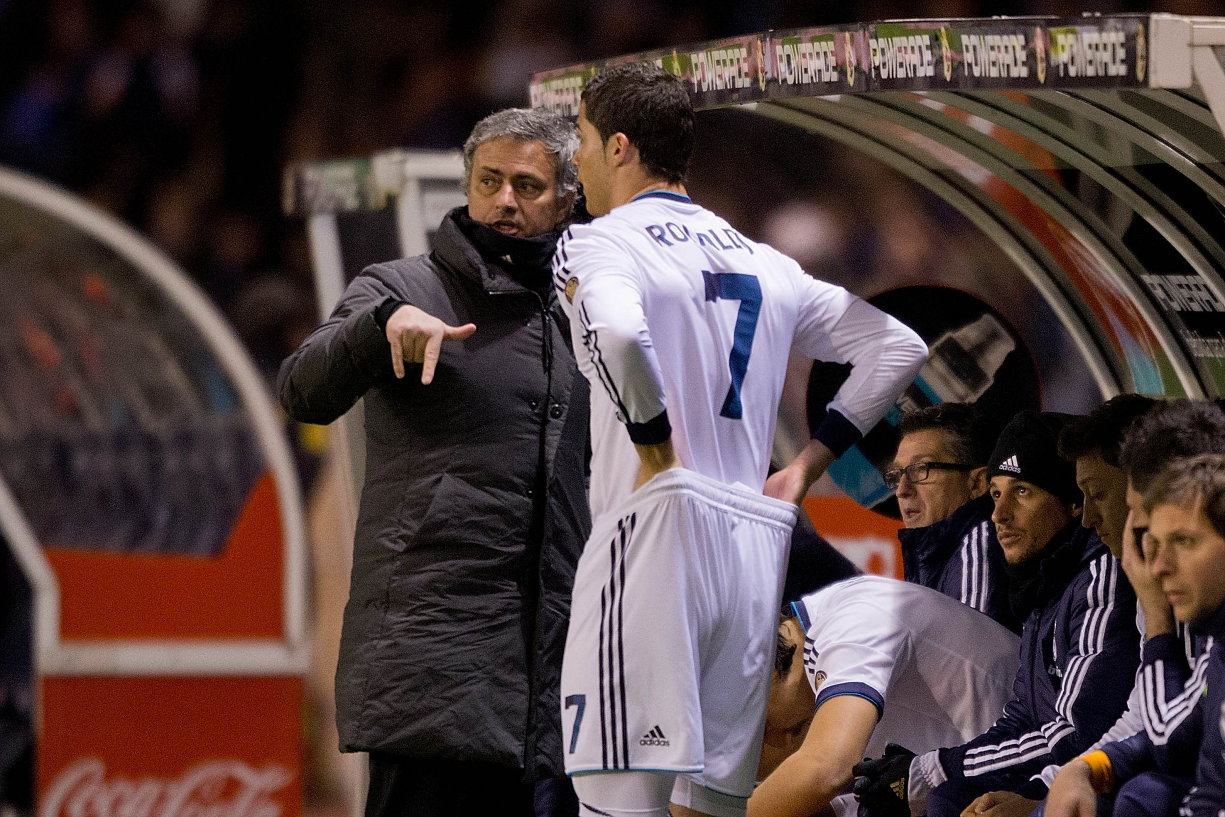 Jose Mourinho, left, with Cristiano Ronaldo