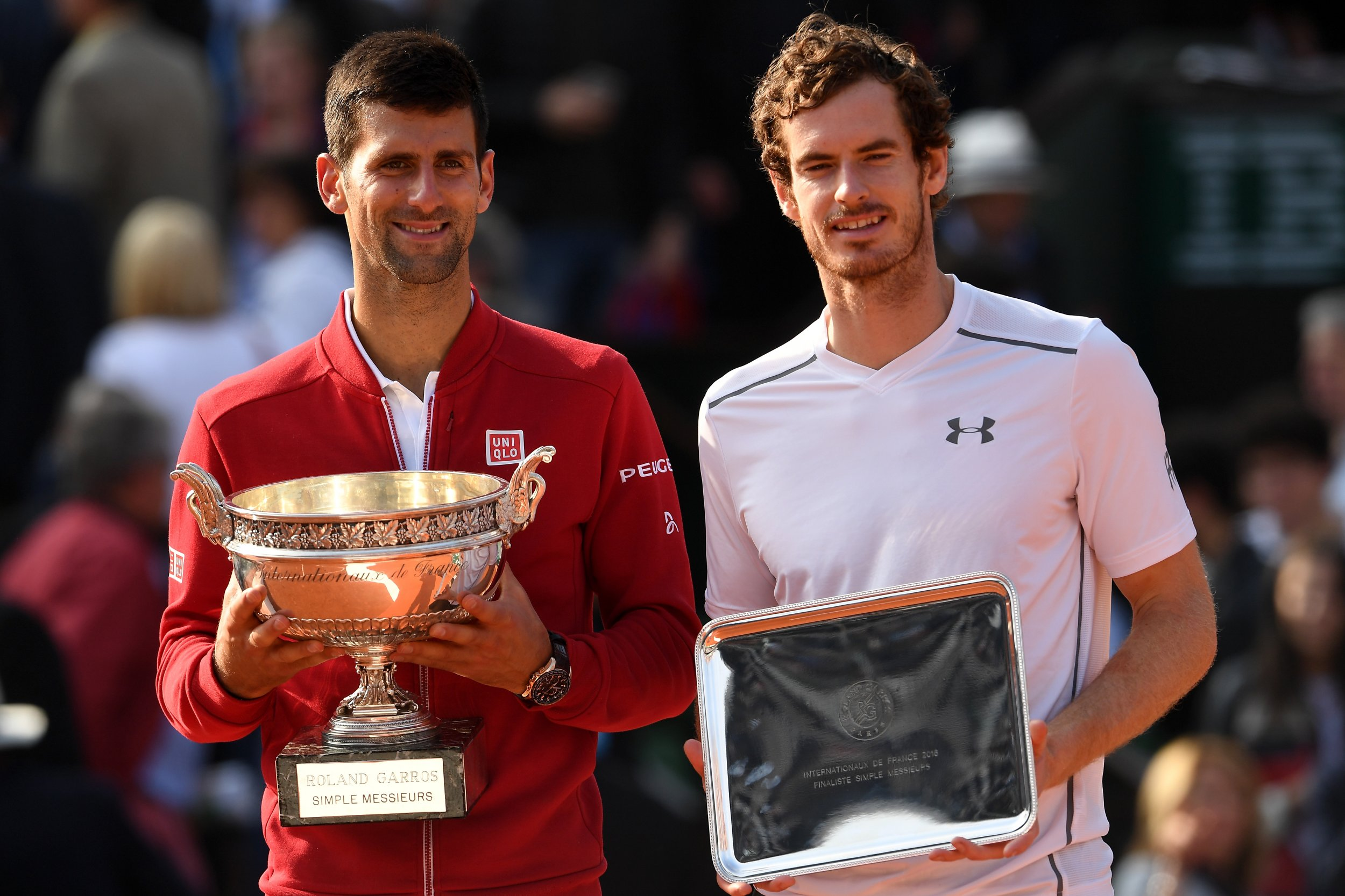 Andy Murray, right, with Novak Djokovic
