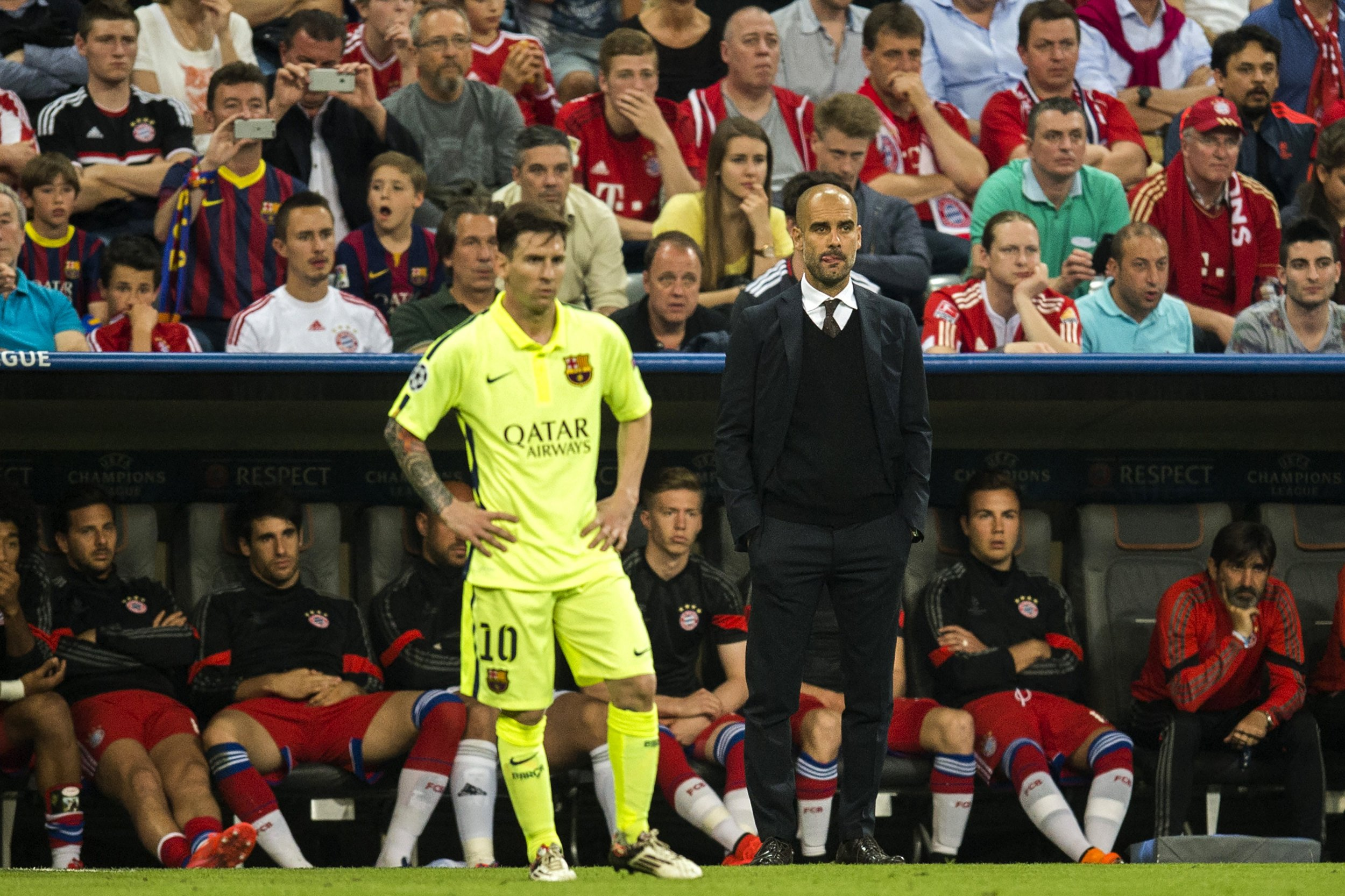 Lionel Messi, left, with Pep Guardiola.