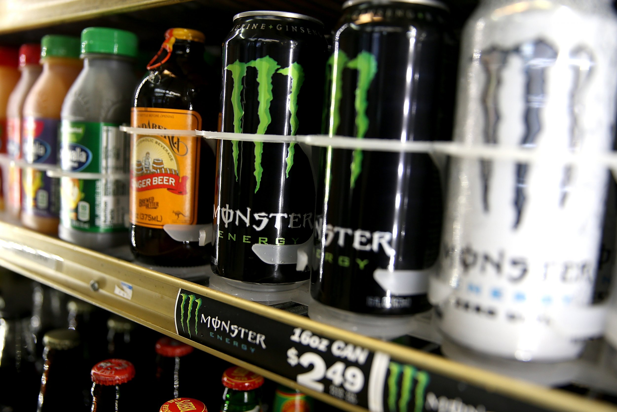 Energy drinks on shelves