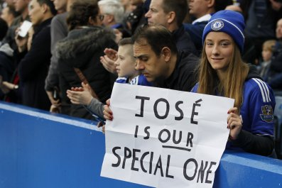 Chelsea fans show their support for Jose Mourinho at Stamford Bridge, London.