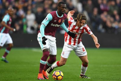 Pedro Obiang, left, with Joe Allen.