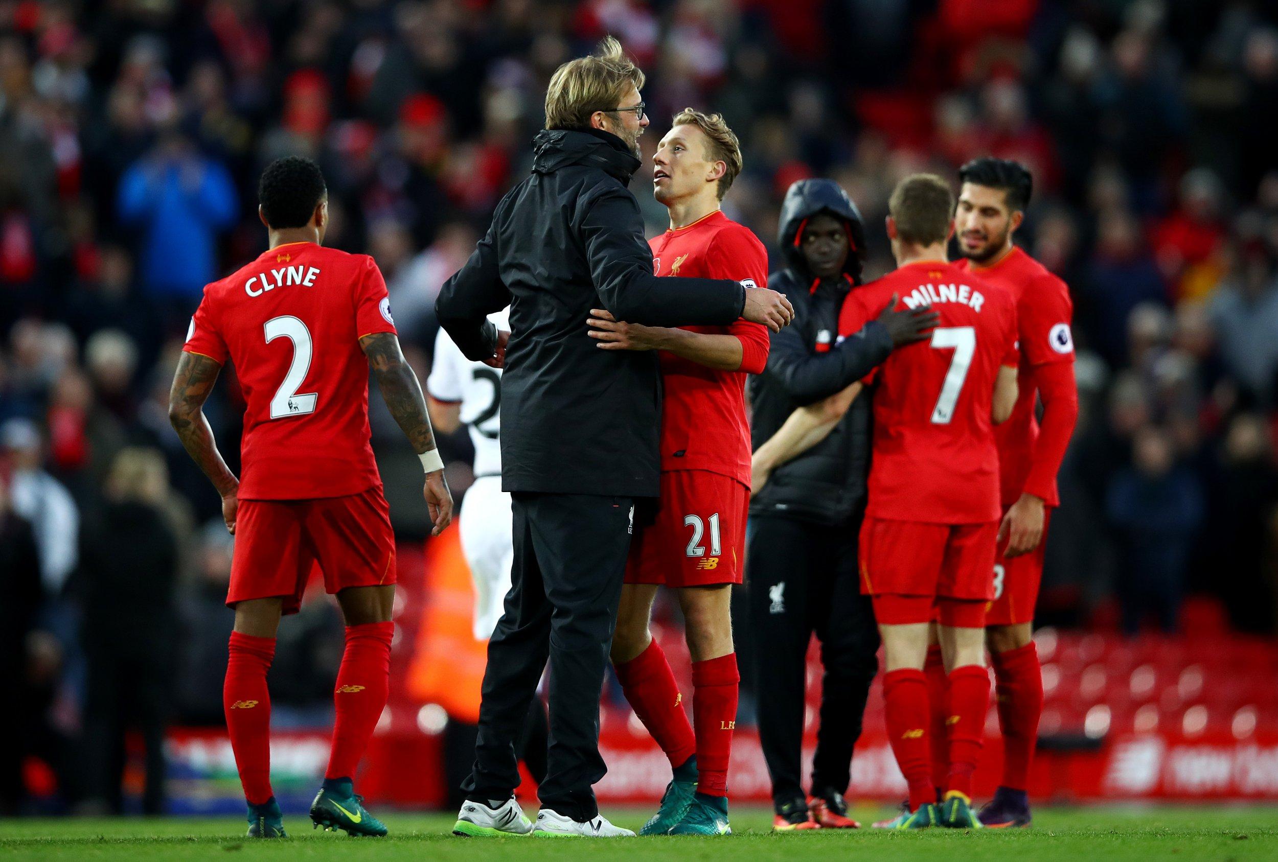 Liverpool manager Jurgen Klopp, second from left.