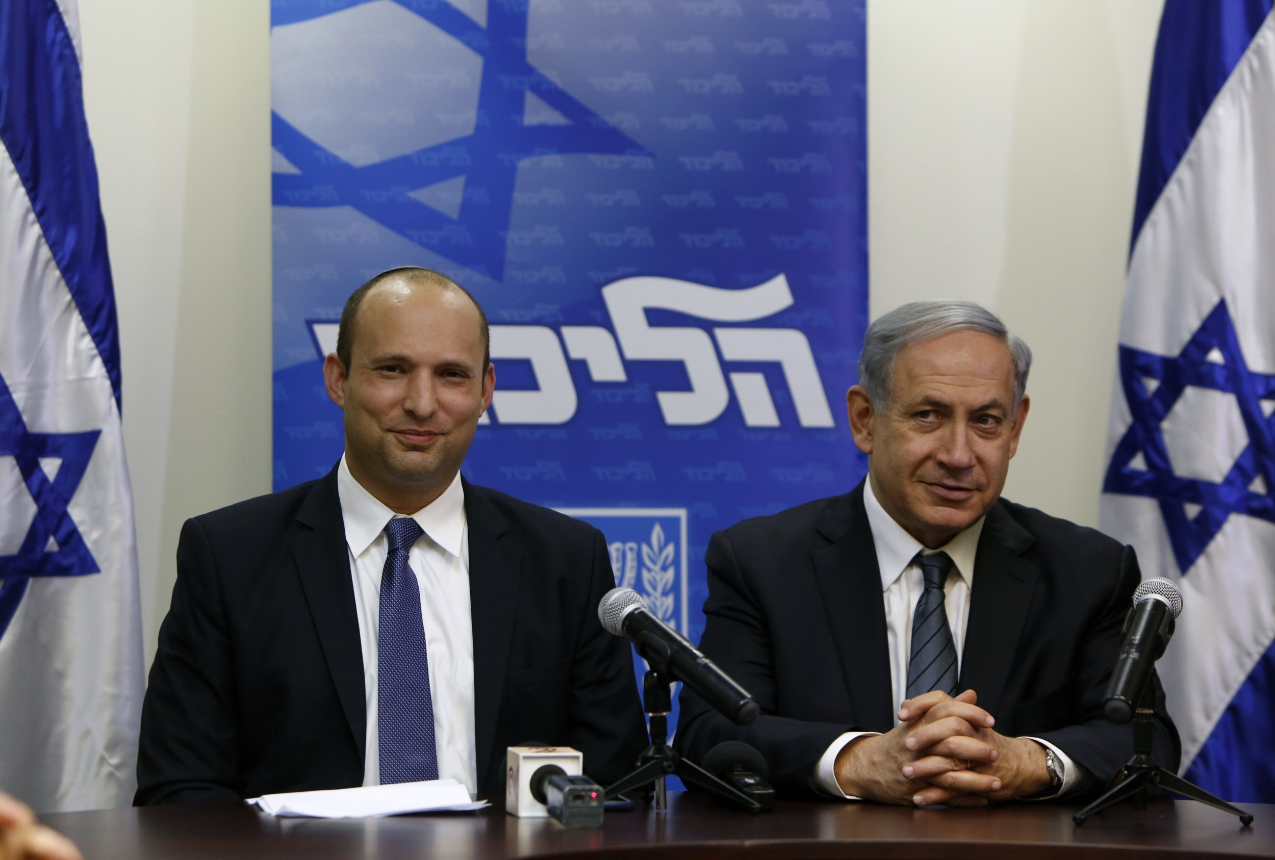 Israeli PM Netanyahu and Education Minister Naftali Bennett