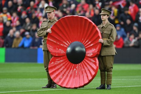A giant poppy at Anfield, Liverpool, November 6.
