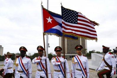 U.S. Cuba flags