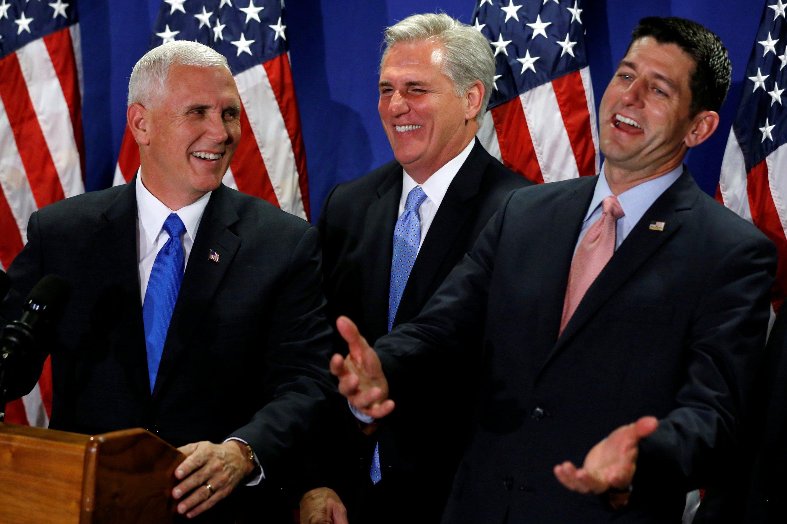 Mike Pence, Kevin McCarthy and Paul Ryan laugh