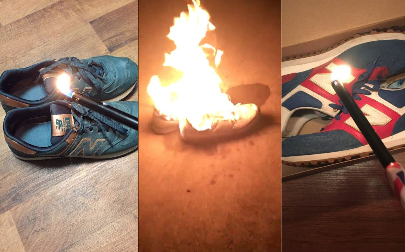 Terraplén repentinamente Torrente  People Are Setting New Balance Shoes on Fire After Company's Apparent Pro- Trump Comments