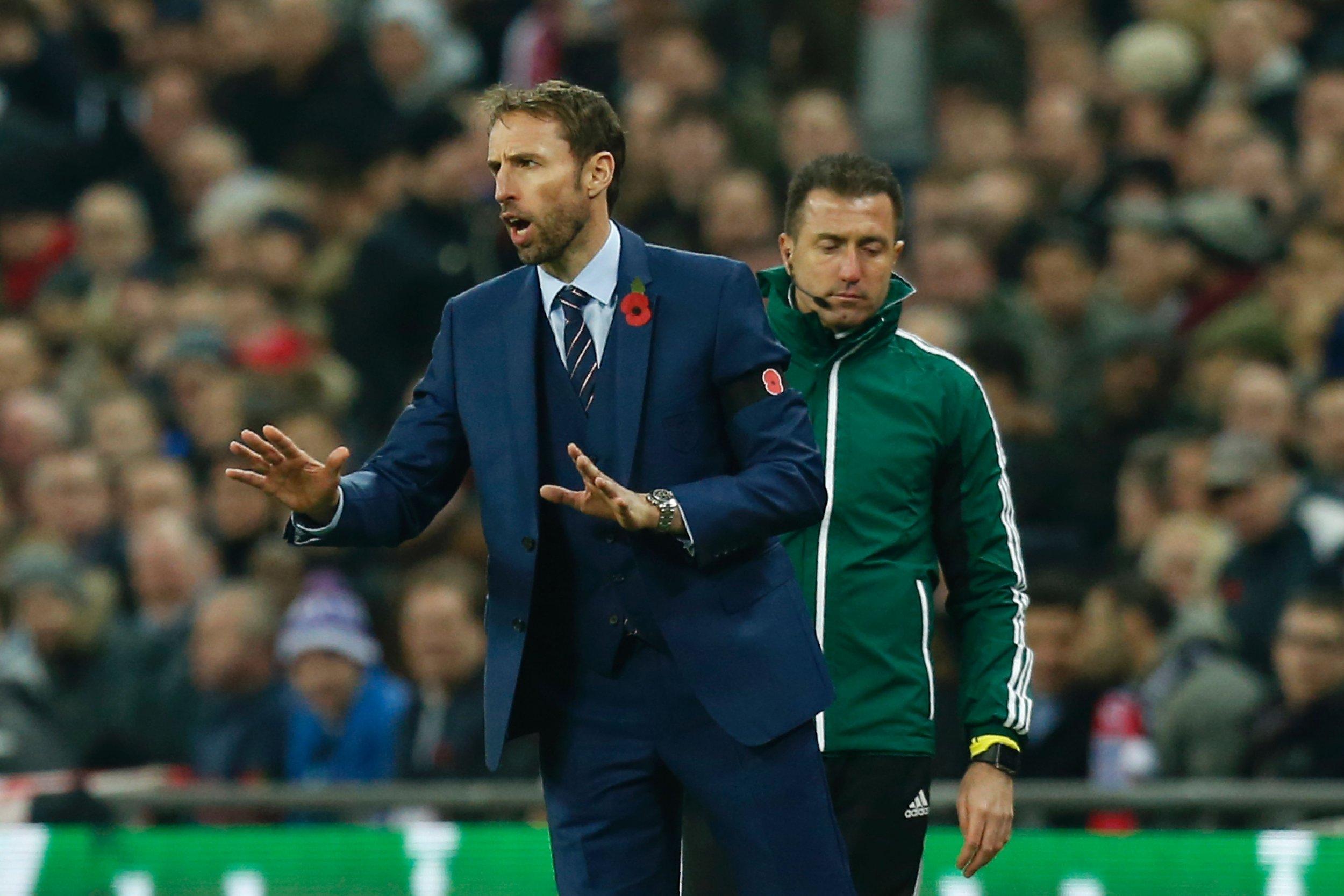 England interim manager Gareth Southgate, left.