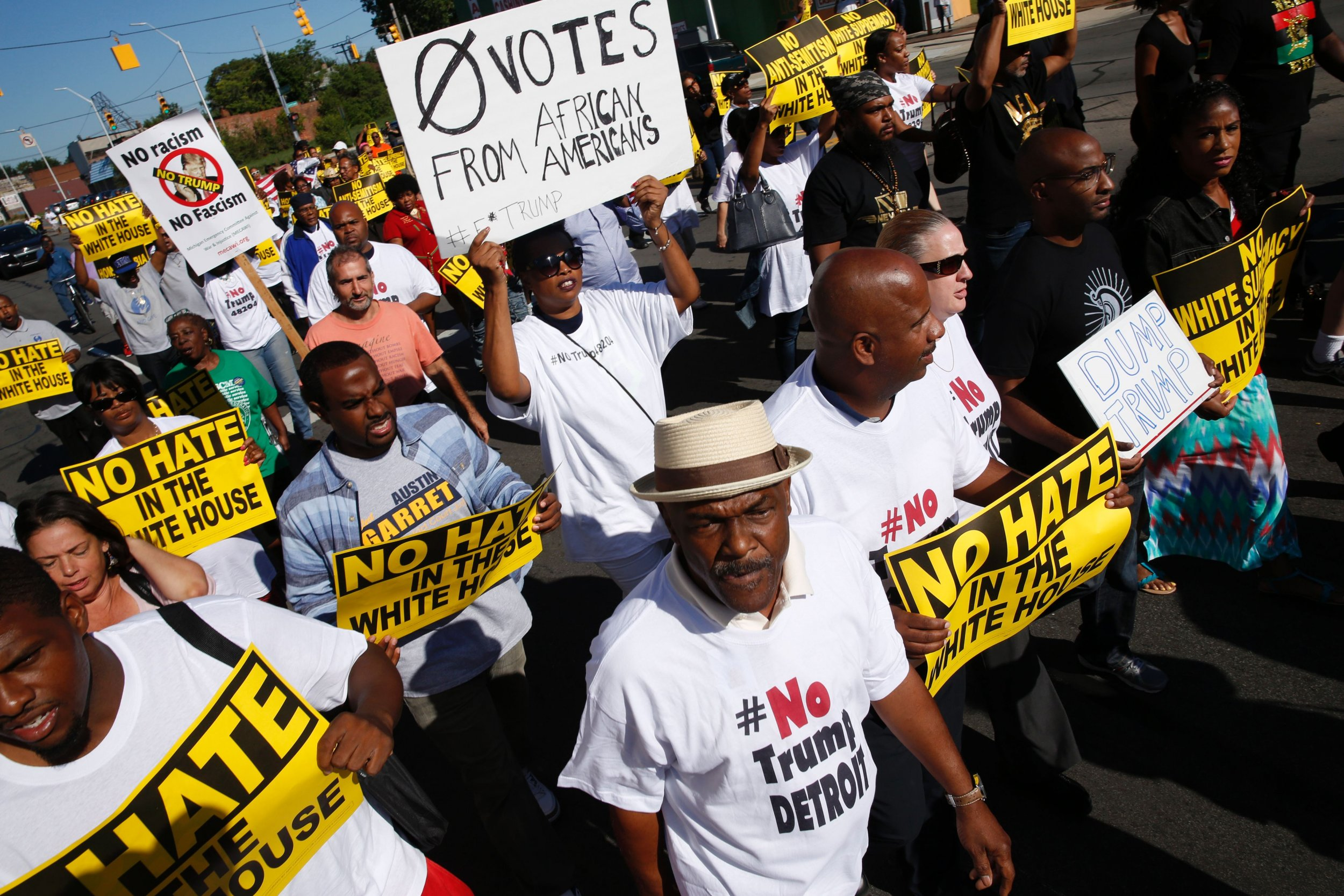African-Americans protest against Trump