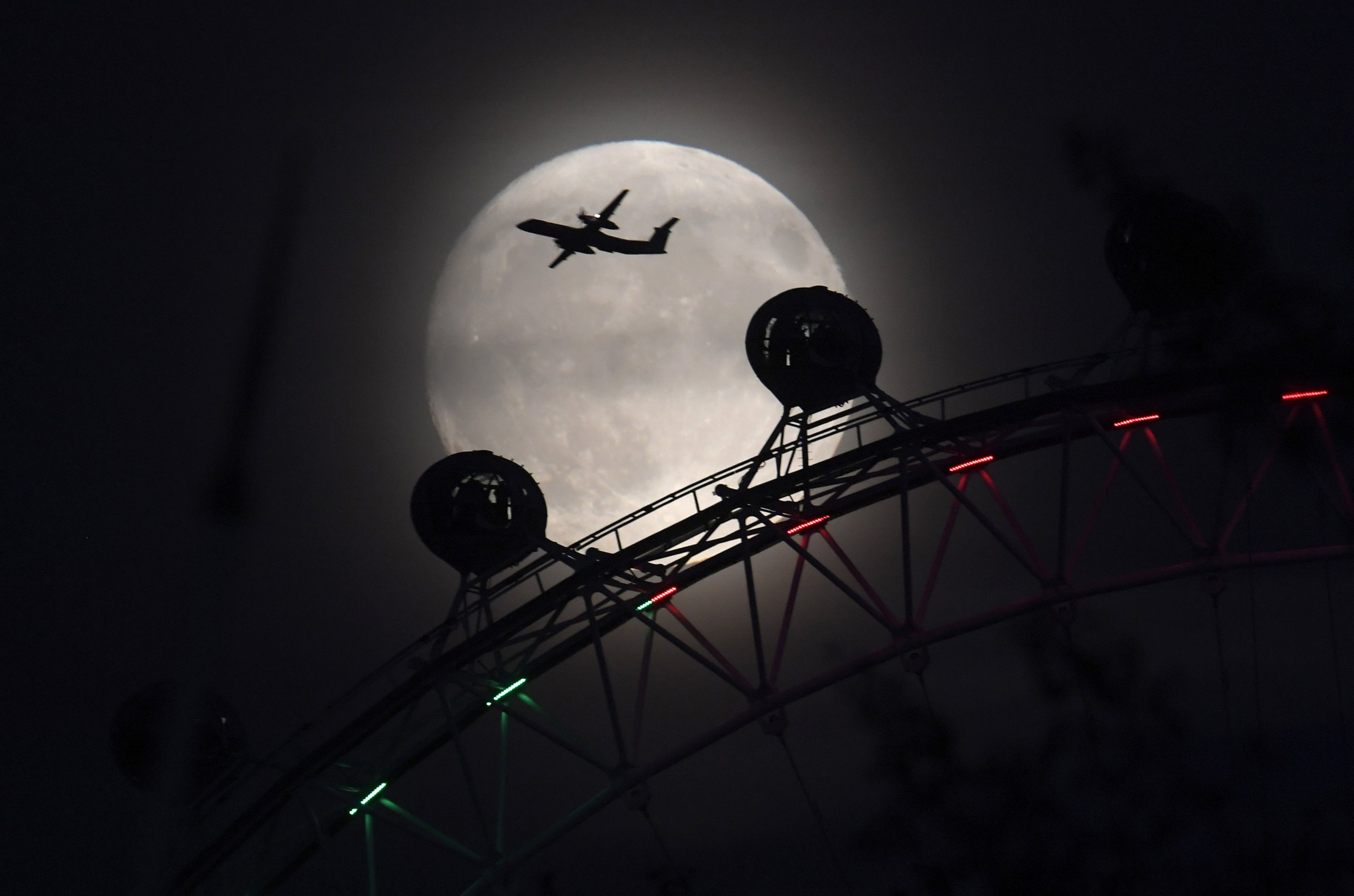 Supermoon over the London Eye